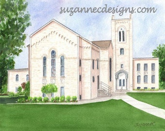 GICLEE PRINT OF First Baptist Church, Pocahontas Arkansas,  from an original watercolor by Suzanne Churchill.