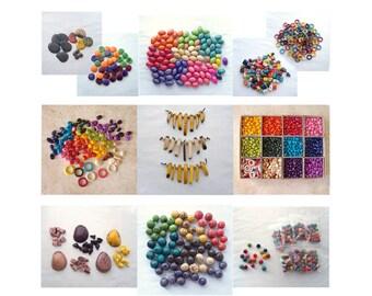 Tagua Nut Beads - HUGE DESTASH LOT - 7900+ Tagua Beads - Rings, Medallion, Confetti, Zebra, Rainbow, Nugget, Pebble, Spear, Kidney, Olive