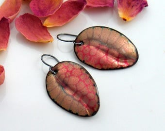 Pink Enameled Dangle Earrings, One of a Kind Patterned Handmade Leaf Earrings, Pink and Gold Design, Original Art Jewelry, Copper Enamel Art