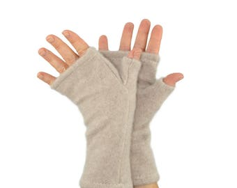 Cashmere Fingerless Gloves in Wheat Beige - Upcycled Wool Sweater