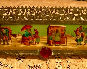 Stained Glass Luminiere - Candle Holder w Antique Christmas Market - Santa Tree and Snow Image