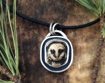 owl pendant-sterling silver-owl face pendant-owl jewelry-leather cord-owl head pendant-bird pendant-bird jewelry-wise owl-graduation gift