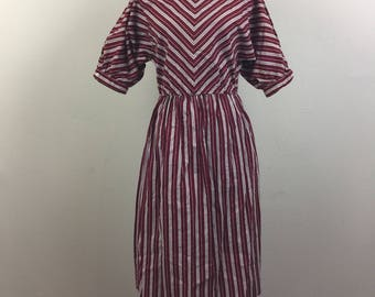 Vintage 80s Brick Red and Gray STRIPE Cotton Dress S