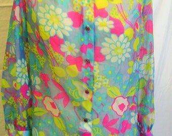 Vintage Psychedelic Hippie Sheer Shirt Wide Collar Day Glow Floral Blouse Groovy 60s 1960s Vintage Sears Size M