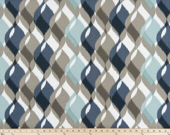 Blue Taupe Curtains, Pair Rod Pocket panels,  Premier Prints Finley Awendela Mojave, Choose Size
