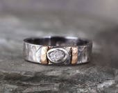 Men's Raw Diamond Ring - Black Sterling Silver - 14K Rose Gold Accent Bars - Rustic Texture - Wedding Band - Commitment Rings