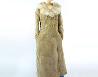 70s Suede Coat Faux Suede Coat Shearling Coat Velvet Coat Fur Collar Coat Vintage 70s Jacket Fur Collar Jacket Boho S