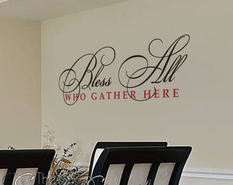 Bless All Who Gather Here   Bible Verse Scripture Wall Decals Stencils  Stickers | Religious Christian