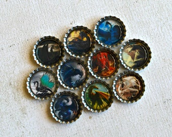 Dragon Bottlecap Magnets- Medieval Dragons- Dragon Gift- 10 Strong Bottlecap Magnets- Dragon, Gothic, Pagan Decor- Fantasy Kitchen Decor