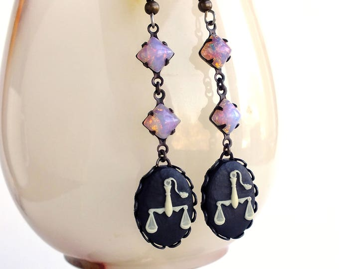 Libra Zodiac Opal Earrings Victorian Astrology Cameo Earrings Vintage Glass Opal Victorian Zodiac Jewelry Libra Astrology Gift for Her