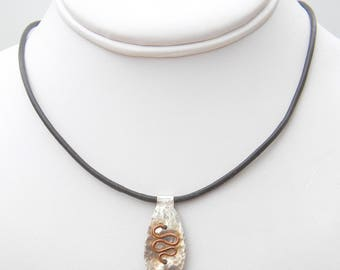 Sidewinder - Textured Copper and Sterling Silver Switchback Pendant Necklace