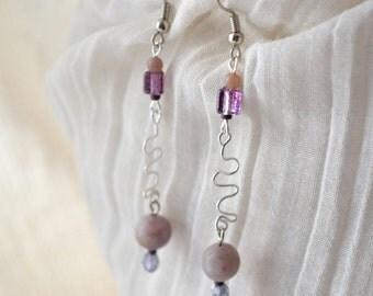 Winding Path Lepidolite Earrings -  Silver, Fancy Jasper - Handmade OOAK - Free US Shipping, Orchid Purple, Metaphysical Healing Gemstones