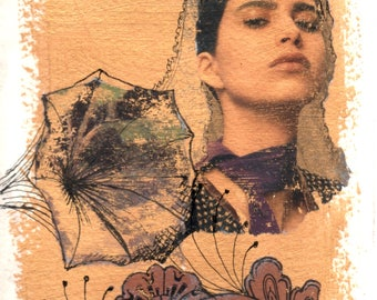 Mantilla, Mixed Media on Paper, 5x7 art, matted to 8x10