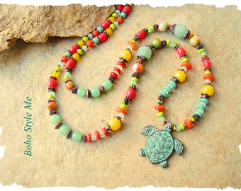 Boho Colorful Sea Turtle Necklace, Bohemian Jewelry, Handmade Beaded Tribal Jewelry, Boho Style Me, Kaye Kraus