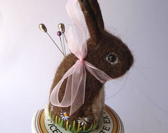 Original Handmade Needle Felted Brown  Bunny Pin Cushion