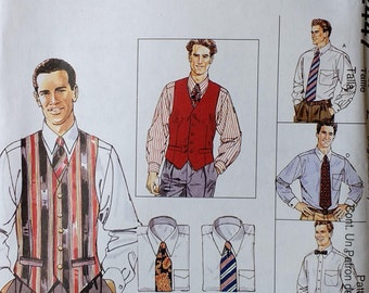 Mens Lined Vest Pattern Mens Shirt Tie and Bow Tie Pattern Mccalls 2447 Mens Business Accessories