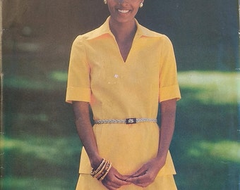 Butterick 5813 Misses size 14 Top and Skirt Pattern 1980s Semi fitted top and Aline Skirt Pattern