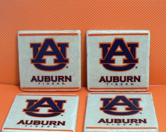 Auburn Tigers Football Natural Stone Tile 4x4 Drink Coaster Set of 4 Kitchen Dorm Home Decor