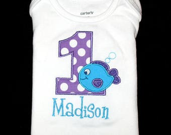 Custom Personalized Applique Birthday Number FISH and NAME Shirt or Bodysuit  - Purple Ta Dots and Turquoise - Or Choose Colors