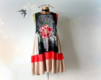 Black Summer Dress Upcycled Clothing Floral Flower Loose Fit Boho Women Sundress Wearable Art Everyday Dress T-Shirt Tank Dress L 'ZAHARA'