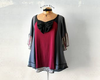 Loose Oversize Top Bohemian Clothing Upcycle Recycle Burgundy Blouse Boho Gypsy Shirt Women's Trapeze Top Swing Shirt Eco Wear XL 'PRISCILLA