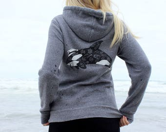 Orca and Fishboat Zip Hoodie