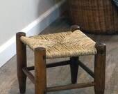 Vintage natural rush stool, small footstool, kitchen stool, shaker style furniture