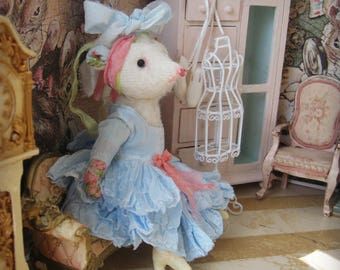 "Mouse Doll - ""Miss Marie Ruth McMann"" - 5-6"" Tall - 1:12 Dollhouse Scale Fancy Miniature Mouse Rat Art Doll"