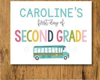 Custom First Day Of School Sign  - Preschool First Day 2017 -Kindergarten First Day Of School 2017-2018-Back to School Sign - First Day Sign