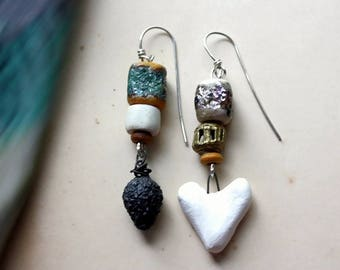 Charcoal and Ash Dangle Earrings w/ Artisan Lampwork, and Stoneware, on Hand formed Sterling Silver, 2.5 Inches