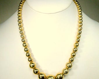 Monet GOLD Bead Necklace, Graduated Round Classic 14KT Look Beads,  1970s, 16 Inches, Chain Strung