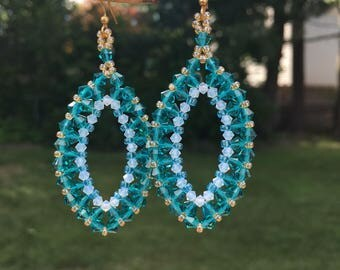 Teal Crystal Earrings, Hand Woven Swarovski Jewelry, Big Bold Chunky Dangle Earrings that Make a Statement, Sparkle Iridescent Accessories