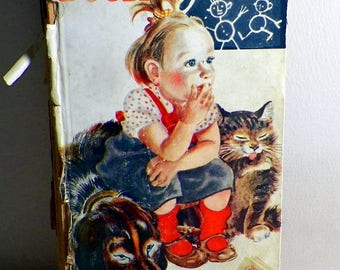 Tall Book of Mother Goose 1942 1st Ed Illustrated by Feodor Rojankovsky Delightful Color Graphics Damaged Spine Cover