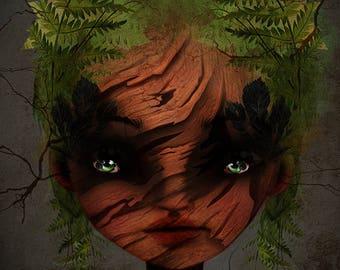 Fine Giclee Art Print - 'Wood Nymph' - Little Girls Room Art Print - 8x10, 8.5x11,11x17 -Jessica von Braun illustration - Fairy Art - Nature