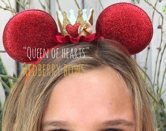 Princess Minnie Mouse Ears with Crown...Queen of Hearts, Ariel, Belle, Maleficent,Minnie Mouse