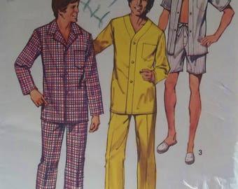 Retro Men's Pajamas Simplicity 5946 Sewing Pattern, Men's Classic Long or Short Pajamas Drawstring Waist, Long or Short Sleeve Chest 46 - 48
