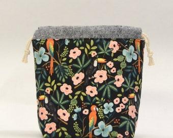 Paradise Garden Small Drawstring Knitting Project Craft Bag - READY TO SHIP