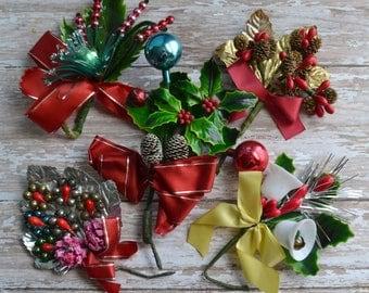 5 Vintage Christmas Corsages Mini Glass Ornaments Beads Enamel & Foil Leaves Ribbons Pine Cones