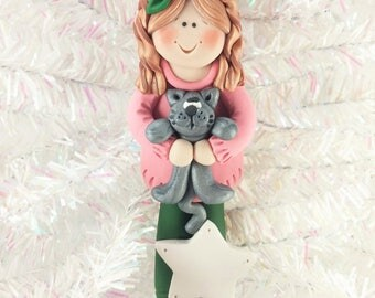 Girl with Cat Ornament - Cat Owner Christmas Ornament - Cat Lover Gift - Pet Owner Gift - Polymer Clay Kitty Ornament - Cat Gift - 61313