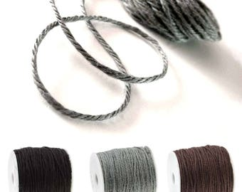 Colored jute twine - Grey, Black or Brown 5m / 16.4 ft