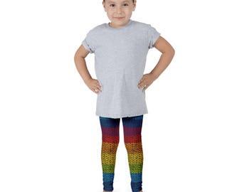Rainbow knitting children leggings - Free shipping USA and Canada