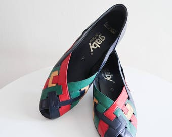 Primary color COLORBLOCK woven leather 60s shoes by Gaby sz. 7