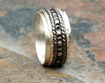 New Spinner Ring with Hammered Copper and Textured Gold Filled   Black Sterling Silver Fidget Ring Worry Ring Anxiety Ring