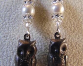 Swarovski Crystal Pearl Owl Earrings