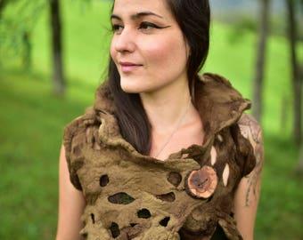 Felt Pixie Vest-Woodland Costume-Forest Top- Nymph Top-Druid Costume-Tree Top-Tree Costume-Pixie Vest-Tree Roots Bolero-Wool Bolero OOAK