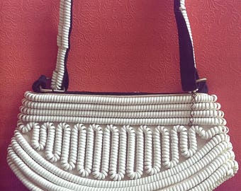 As Is 1940s Cream Telephone coil cord purse
