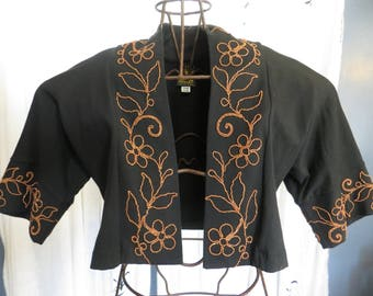 90's HELIOS Black Capellet Embroidered