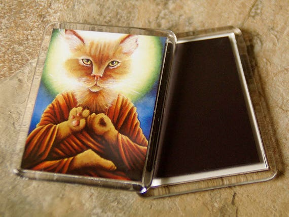 Buddha Cat Magnet, Meditating Orange Cat Art Fridge Magnet