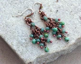 Green Turquoise  Beaded Chandelier Earrings, Small Size, Antique Copper, Crystals, Wire Wrap, Handcrafted, Canada, Sterling Silver Earwires