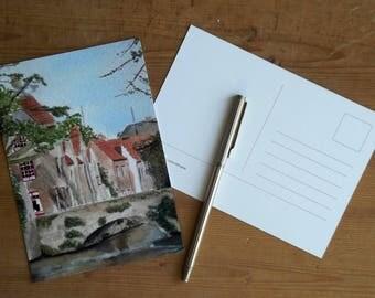 bridge river houses landscape postcard set of 3  wall art